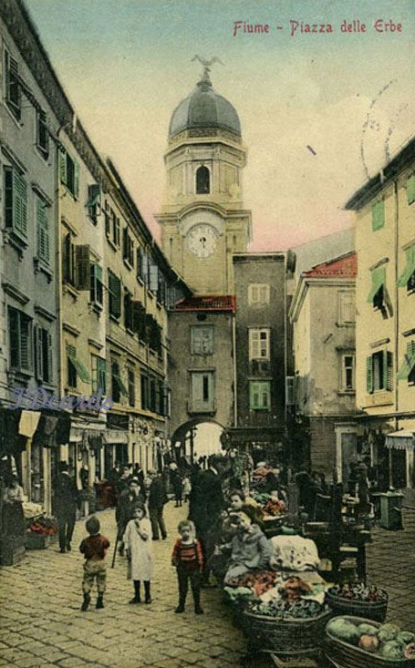Rijeka, Fiume, Piazza delle Erbe, danas Koblerov trg s rodnom kućom Giovanni Koblera