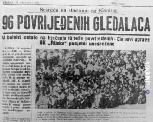 Novinski članak o stradanju gledatelja na Kantridi 9. rujna 1962. godine