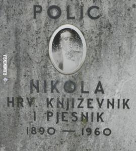 Propala slika na nadgrobnoj ploči Nikole Polića na Groblju Trsat