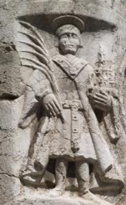 Kameni reljef s prikazom sv. Vida na stupu za gradsku zastavu