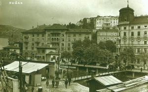 Pješački most između Sušaka i Delte tridesetih godina prošlog stoljeća (Foto: Ljudevit Griesbach)