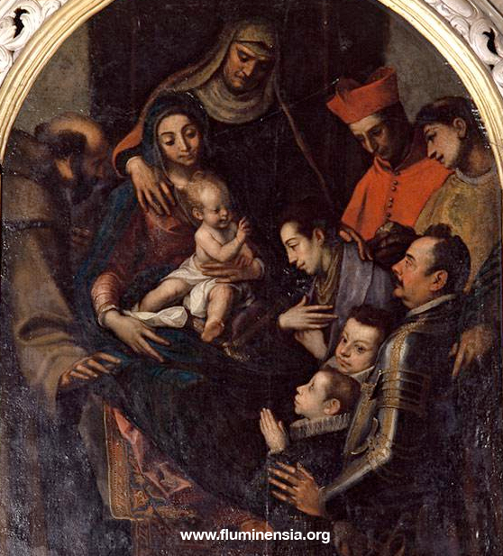 Stefano della Rovere sa sinovima na oltaru sv. Ane Trojne u trsatskoj bazilici. Sliku je izradio renesansni umjetnik Giovanni Pietro Telesphoro de Pomis