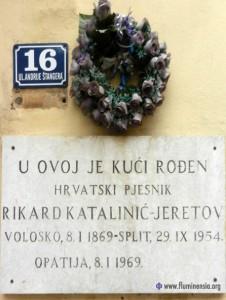 Spomen ploča na rodnoj kući Rikarda Katalinića Jeretova u Voloskom